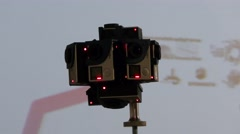 A 360 degree video camera system shoots video to all directions Stock Footage
