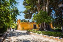 Alcazar fortress wall,  Alley Catalina de Ribera side - stock photo