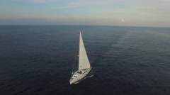 Yacht in the ocean. Aerial view. Stock Footage