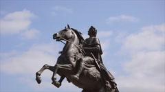 Bronze horseman sculpture Stock Footage
