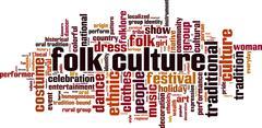Folk culture word cloud - stock illustration