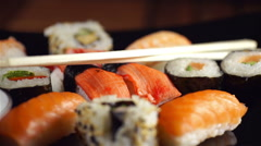 Sushi Assortments, Turntable Stock Footage