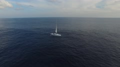 Sailing yacht in the ocean. Aerial view. Stock Footage