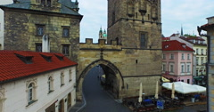 Flying over the Charles Bridge Tower. Beautiful 4k views of the old Prague. Stock Footage