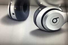Beats Earphones, inside Apple Store, Shopping, NYC - stock photo