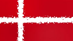 Modern striking bubbles motion background loop red and white denmark flag Stock Footage