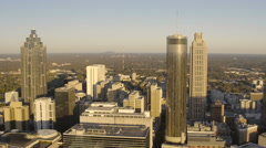 Atlanta Aerial over downtown panning Stock Footage