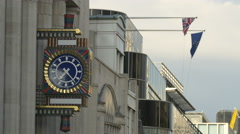 Close up view of an old clock on Fleet Street in London Stock Footage