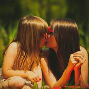 Mother and daughter on picnic. Summer leisure. - stock photo