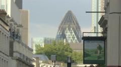 The Gherkin tower seen from Fleet street in London Stock Footage