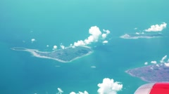 View of Indonesian Islands from plane - stock footage