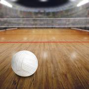 Volleyball Court With Ball on Wood Floor and Copy Space - stock photo