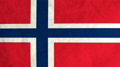Norwegian flag waving in the wind (full frame footage) Stock Footage