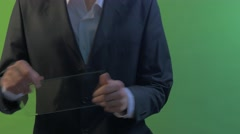 Man is Working With Tablet Shows ok Satisfied Man Holding Virtual Tablet Stock Footage
