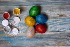 DIY project and new creative idea how to color Easter eggs - stock photo