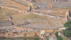 Tourists in fort Jaipur Stock Footage
