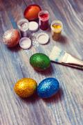 DIY project and new creative idea how to color Easter eggs Stock Photos