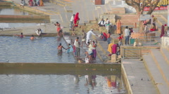 Pushkar lake, ritual washing Stock Footage