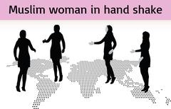 Muslim woman silhouette in hand shake pose Piirros