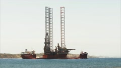 Oil Rig  in Port Phillip Bay Stock Footage