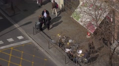 Unidentified Hispanic citizens on street, high angle close up shot, cafe tables Stock Footage