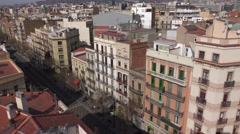Barcelona avenue from housetop, residential area at dense populated district Stock Footage