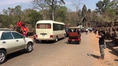 Traffic jam, elephant riding and mass tourism Stock Footage