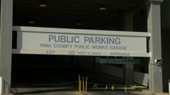Garage entrance for the Pima County Public Works in Tucson Stock Footage