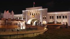 Bab Al- Bahrain Souk Gate at night, Manama 02 - Time lapse Stock Footage