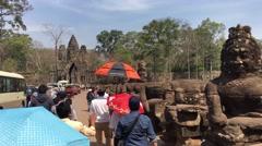 Mass tourism at Angkor Wat Stock Footage