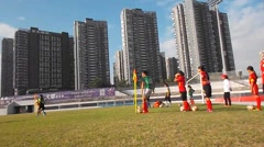 Chinese youth in the training of football Stock Footage