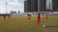 Chinese youth in the training of football - stock footage