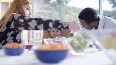 4K Family problems - little boy crying at the lunch table Stock Footage