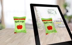 Augmented reality apple crisps on a table Stock Illustration