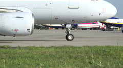 brussels airlines airplane roll to runway. Two different view. - stock footage