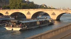 Pont Royal Paris Landmark Tourist Cruise Seine River Entertainment Boat Trip Stock Footage