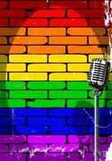 Rainbow Musical Event Poster Grunge - stock illustration