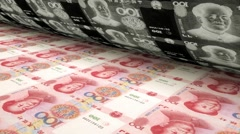 the issue of the yuan, the printing press, the printing of the yuan - stock footage