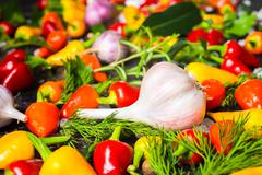 Setting of garlic, yellow, red hot chili peppers, sea salt, different greener Stock Photos