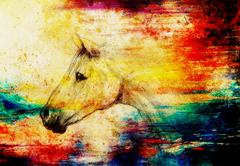 Stock Illustration of Draw pencil horse on old paper, vintage paper and old structure with color spots