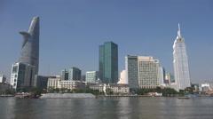 Modern central business district, Saigon river, Ho Chi Minh City, Vietnam Stock Footage