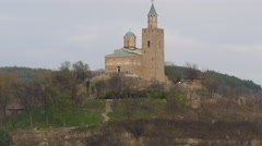 People walking at the foot of the fortress Tsarevets. Stock Footage