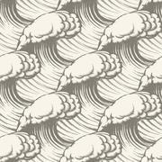 Hand Drawn Wave Seamless pattern - stock illustration