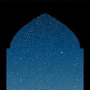 Arabic window. Starry Sky. Columns. Eps 10. - stock illustration