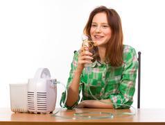 Happy Woman with inhaler Stock Photos