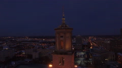 4k Aerial Snow Tennessee State Capitol 012. PART 2 Dusk Close Orbit Stock Footage