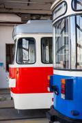 Trams in depot - stock photo