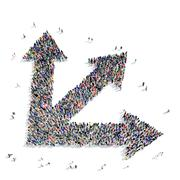 Stock Illustration of group people  shape  arrow icon