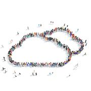 people shape clouds weather - stock illustration