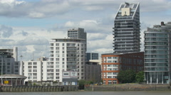 Stock Video Footage of Buildings on the riverside in London